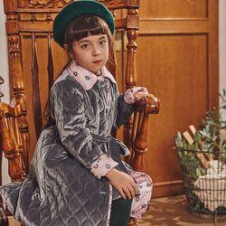 퍼키 벨벳 물결퀼팅 벨트 코트 여아가을 겨울누빔코트