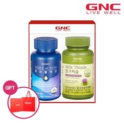 [무료배송] GNC 트리플액션(멀티비타민+오메가3+루테인) + 밀크씨슬 세트