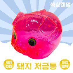 투명 형광 네온 돼지 저금통(대) 새해다짐 근검절약