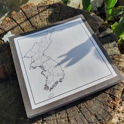 대한민국 한반도 지도 클래식 블랙 심플 메모지