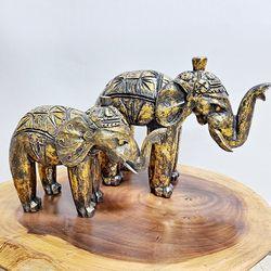 Y1010640 목각 금빛 코끼리 장식품 2p (대)