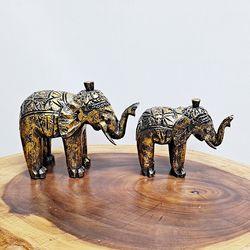 Y1010640 목각 금빛 코끼리 장식품 2p (소)