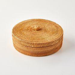 라탄 뚜껑있는 정리함 27cm