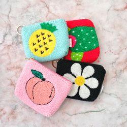 뽀글이 과일 복숭아 플라워 사각 생리대 파우치 동전지갑-HO