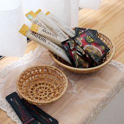 작은 등나무 원형 바구니(라탄바구니) 대형
