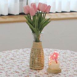 라탄 유리 화병 호리병  L (라탄 꽃병)