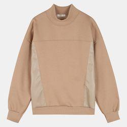 레더배색 반넥 티셔츠 STLA20D31