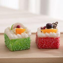 과일장식 사각 케이크 모형 1p(자석)