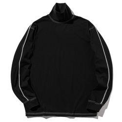 매스노운 스티치 목폴라 티셔츠 MWZLS001-BK