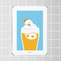 치맥퐁당2 M 유니크 디자인 포스터 치킨 맥주  A3(중형)
