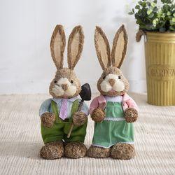 짚단 토끼 2P세트 (50cm-그린)