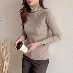 Gold Button Turtleneck Knit