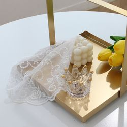레이스 장미 줄기 테이블 매트 20CM