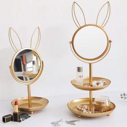 골드 수납 탁상 화장 거울 (토끼)