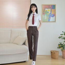 [빅사이즈]허리조절 하복 브라운 교복바지(여자) 6XL