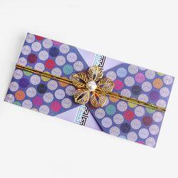 (인디고샵)전통 구슬패턴 청자색 돈 봉투 (2set)