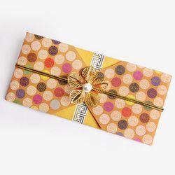 (인디고샵)전통 구슬패턴 황색 돈 봉투 (2set)
