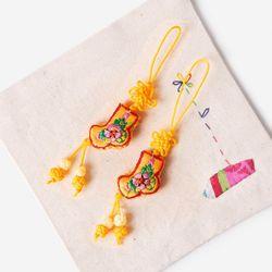 (인디고샵)귤색 작은 버선 매듭끈 (3개)