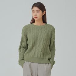 크롭 케이블 변형 조직 스웨터 MIWKAB156T