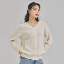 양 V넥 하찌 루즈핏 스웨터 MIWKAB211T