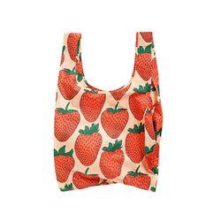 [바쿠백] 휴대용 장바구니 접이식 시장가방 Strawberry