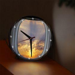 nf589-비행기창문밖일출RLED시계액자25