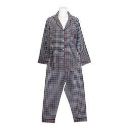 NEMO [쿠비카]배색 체크 피치 기모 투피스 여성잠옷 W704