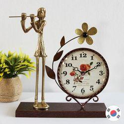 플루트 조각상 동공예품 꽃탁상시계 SBC-501