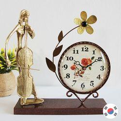 첼로 조각상 동공예품 꽃탁상시계 SBC-502