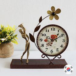 골프 조각상 동공예품 꽃탁상시계 SBC-504