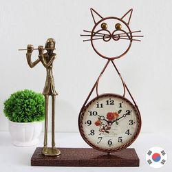 플루트 조각상 동공예품 고양이 탁상시계 SBC-505