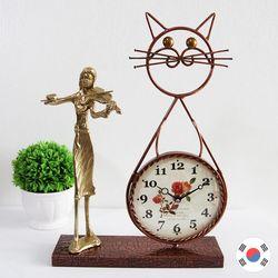 바이올린 조각상 동공예품 고양이 탁상시계 SBC-507