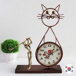 골프 조각상 동공예품 고양이 탁상시계 SBC-508