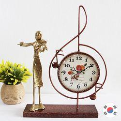 바이올린 조각상 동공예품 높은음 탁상시계 SBC-511