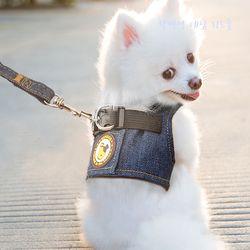 강아지 데님 리드줄