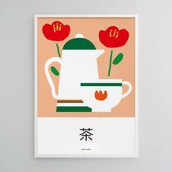 동백꽃과 차 M 유니크 디자인 포스터 카페 전통차 A3(중형)