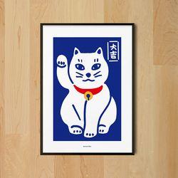 복고양이3 M 유니크 디자인 포스터 마네키네코 일식 A3(중형)