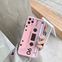 아이폰11 pro max xr xs 복고 핑크테이프 젤리 케이스