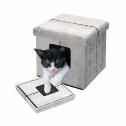 유로펫 디앤디 스툴겸용 고양이 하우스(화이트슬립)