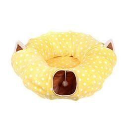 고양이 터널 방석 숨숨집 하우스 장난감 호박형 노랑