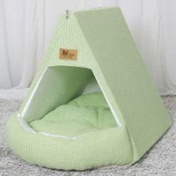 강아지 하우스 텐트 개집 쿠션 애견 방석 라이트그린