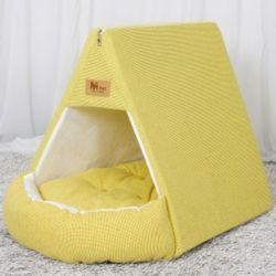 강아지 하우스 텐트 개집 쿠션 애견 방석 옐로우그린