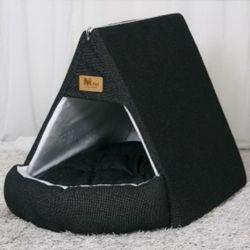 강아지 하우스 텐트 개집 쿠션 애견 방석 매트 블랙