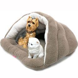 강아지 동굴 하우스 개집 쿠션 방석 매트 침대 브라운
