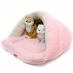강아지 동굴 하우스 개집 쿠션 방석 매트 침대 핑크