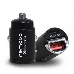 차량용 초고속 미니 레모토 충전기 USB+PD 2포트 시거잭 30W