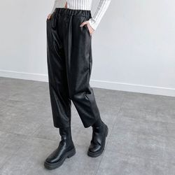 Vegan Leather Baggy Pants