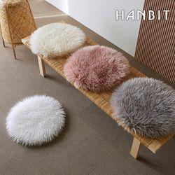 장모 에코퍼 양털 양모 원형 러그 방석 45x45cm
