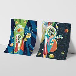 레트로 스페이스 일러스트 인테리어 A1 포스터 VER.1