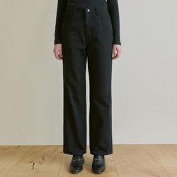 HIGH WAIST WIDE COTTON PANTS [BLACK]
